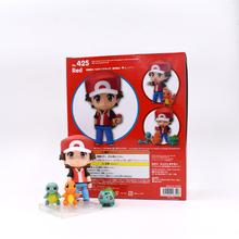 10CM Cartoon PVC Figure Toy Nendoroid Ash Ketchum Zenigame Charmander Bulbasaur Kawaii Pikachu Anime Collectible Model Toys