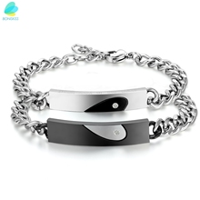 Stainless Steel CZ  zircon Keep Me in Your Heart Couple Matching Bracelets Love Anniversary Promise Gifts
