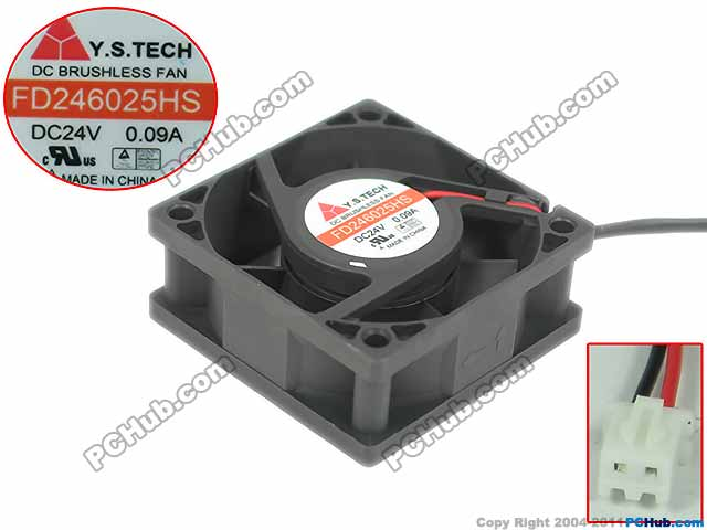 Emacro For Y.S TECH FD246025HS Server Square Fan DC 24V 0.09A 60x60x25mm 2 wire