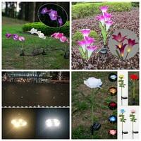 Solar Flower Butterfly Orchid Garden Stake Landscape Lamp Outdoor Yard LED Light ALI88