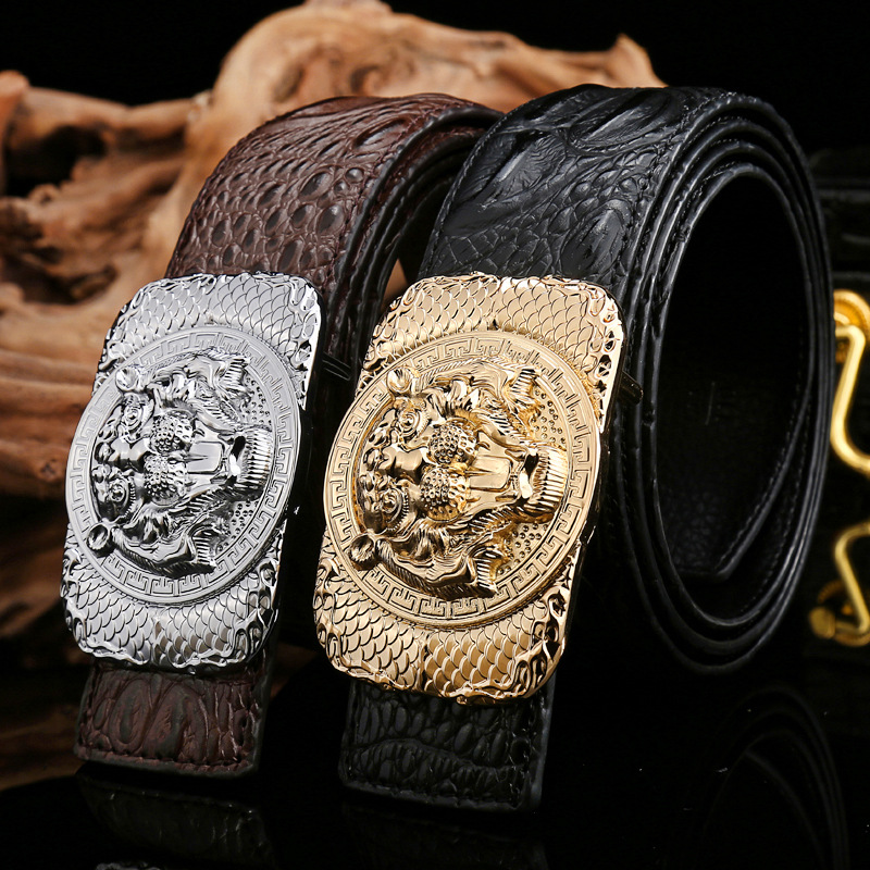 High Quality Crocodile Leather Men Casual   Belt   Luxury Design Silver Leopard Buckle Male   Belt   Black Brown Coffee Strap Ceintures