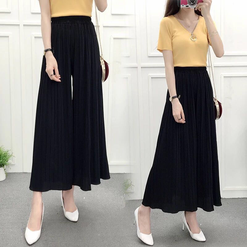 New Women Thin Ruffles Pleated Skirt   Pant   Loose Casual High Waist Chiffon Wrinkle Ankle Length   Wide     Leg     Pants