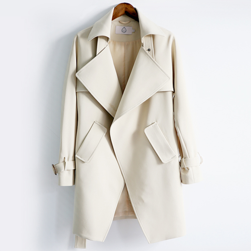 2018 Fashion   Trench   Coat For Women's Long Coat Female Windproof Cloaks For Women Long   Trench   Waistband Autumn Windbreaker 50