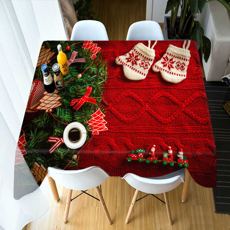 Customizable 3D Tablecloth Red Christmas Tree New Year theme Dustproof Thicken Cotton Rectangular/Round Wedding Table Cloth BE92