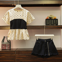 HAMALIEL L 4XL 2019 Summer Women Polka Dot Print Patchwork Short Sleeve Shirt Tops + Tassel Zip Denim Shorts 2 Piece sets