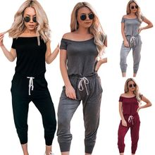 2019 New Arrival Women Casual Sexy Off Shoulder Short Sleeve Jumpsuit Summer Slim Elegant Long Rompers