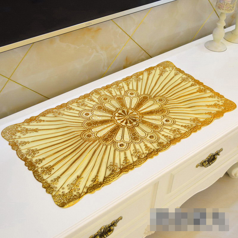 PVC Tablecloth TV Bench Coffee Dining Tea Table Decorative Cover Mat Pad Floral Table Cloth Waterproof 40 x 84cm Gold