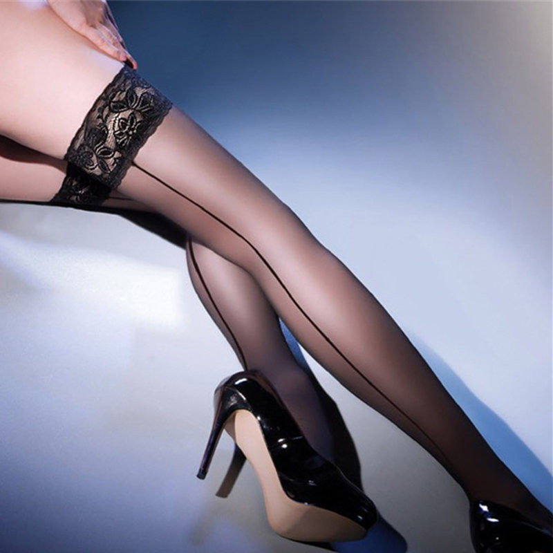 Women's <font><b>Sexy</b></font> Stockings Cuban Heel Back Seam Stockings Hosiery Lace Top Thigh High Stockings <font><b>Sexy</b></font> Lingerie Female Stockings image