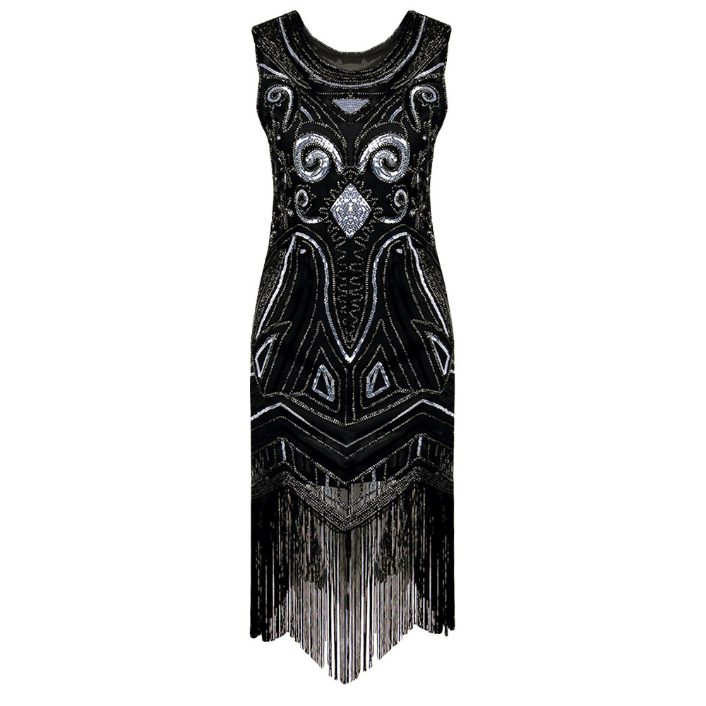 Buy Cheap 90s Style Flapper Dress Vintage Great Gatsby Charleston Sequin Tassel Party Knee-Length Dress black Sequined Bling Dress Vestido