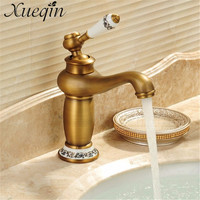 Xueqin Antique/Silver Concise Bathroom Faucet Antique bronze finish Brass Basin Sink Faucet Single Handle water taps M 16F