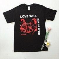 Kuakuayu HJN Любовь разорвет нас на части унисекс Tumblr мода гранж черный футболка хипстеры в стиле панк Топ