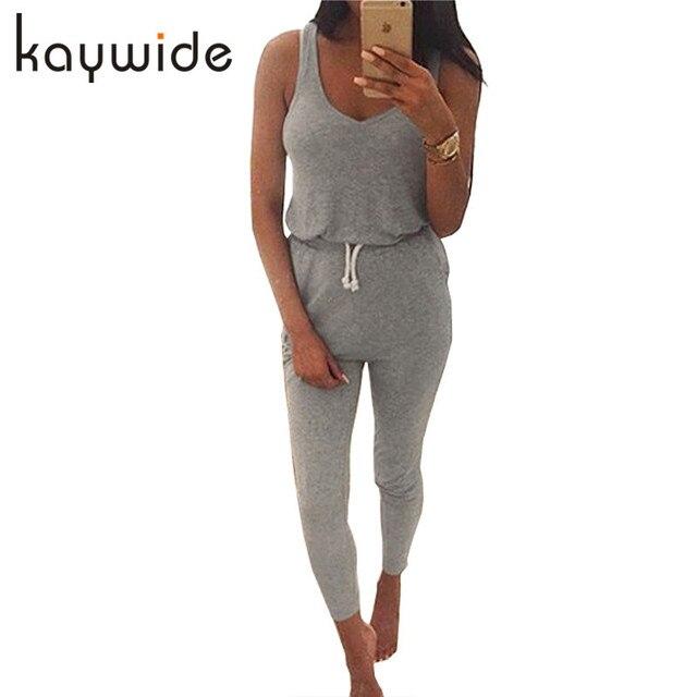 1b9544eab48a DICLOUD New 2018 Summer Low Cut Rompers Womens Jumpsuit Black Elastic Waist  Sleeveless Long Pants Playsuit Strap Pocket Overalls