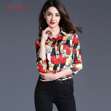 Fairy Dreams Women Chiffon Shirt Colorful Blusas 2017 Spring Summer Three Quarter Ladies Fashion Blouses Plus Size Clothing XXL