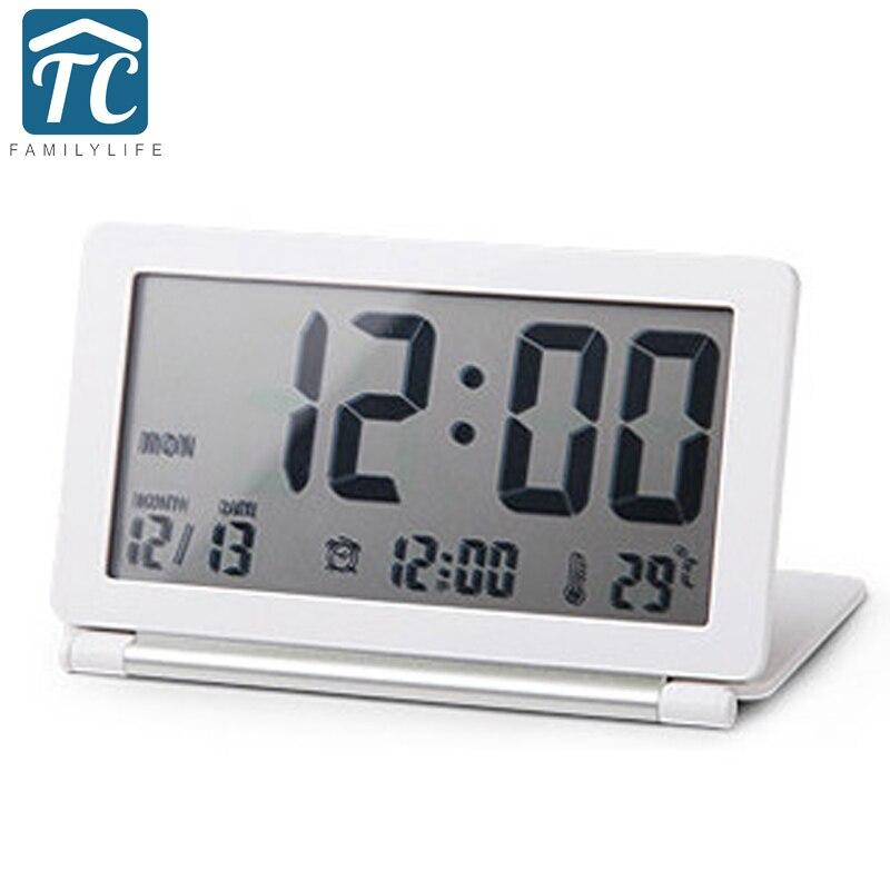New Ultra Slim Clamshell Multifunctional Travel LCD Thermometer Alarm Clock Calendar Digital Desk Alarm Clocks