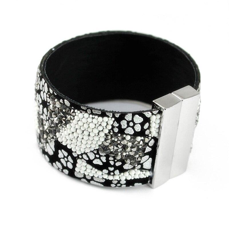 New fashion women leather font b bracelet b font with rhinestone crystal beads Luxury magnetic clasp