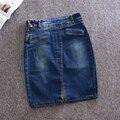 2017 vintage denim jean falda lápiz corto faldas mujeres longitud de la rodilla partido primavera otoño jupe femme azul saias faldas mujer