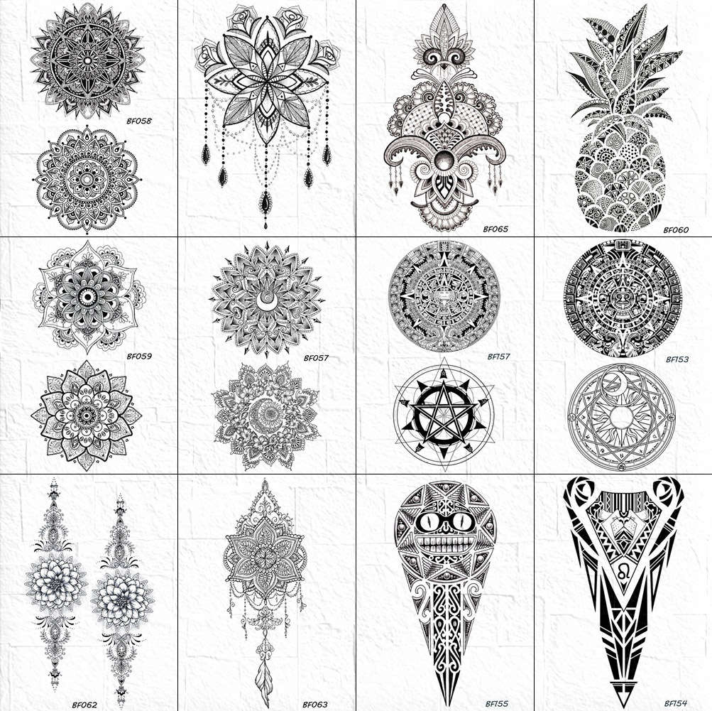 Indian Henna Mandala Temporary Tattoo Sticker Women Body Arm Art Floral Tattoo Black Fake Lace Pendant Girl DIY Tatoo Waterproof(China)