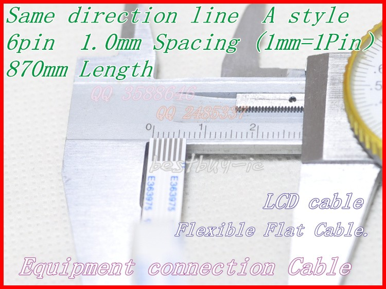 1.0mm Spacing + 870mm Length +6Pin A / same direction line Soft wire FFC Flexible Flat Cable. 6P*1.0A*870MM