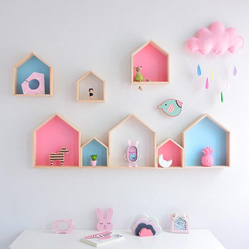 Kids Room Decoration Wooden Shelf For Kids Room Nursery Decoration Wall Wood Shelf For Children Boy Girl Room Wall Decor Shelf