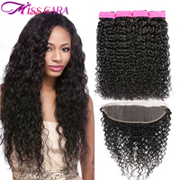 Peruvian Water Wave Bundles With Frontal Closure 100% Human Hair Bundles With Closure Miss Cara Remy 3/4 Bundles With Frontal