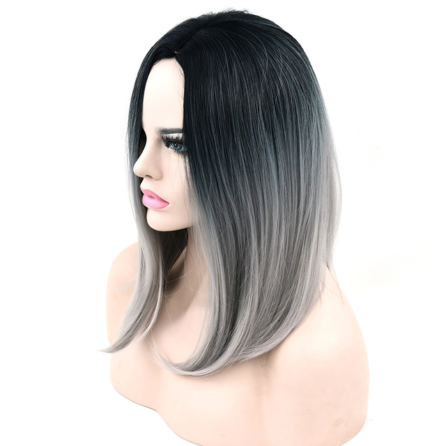Soowee 10 Colors Synthetic Hair Black To Gray Ombre Hair Bob