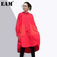 EAM 2018 New Spring Lapel Long Sleeve Red Two Big Pocket Striped Split Joiont Irregular