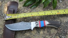 High quality Damascus steel forged straight knife hunting high hardness outdoor self-defense knife tactical army Survival knife