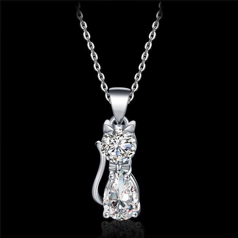 YIXI Cute Cat Design Necklace Elegance Silver Color Luxury Brilliant Cubic Zircon Jewelry Pendant Necklace for Girls Women 2018