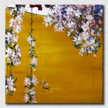 Soft flowers palette knife oil painting hot selling canvas painting for living room wall decoration high quality picture