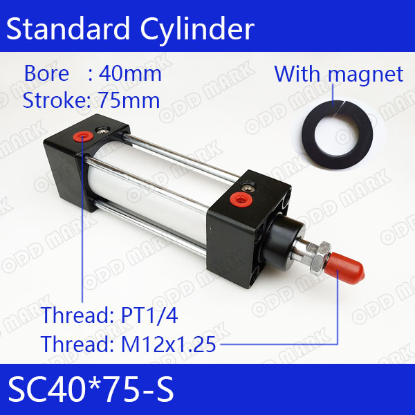 SC40*75-S   40mm Bore 75mm Stroke SC40X75-S SC Series Single Rod Standard Pneumatic Air Cylinder SC40-75-S free shipping 32mm bore sizes 75mm stroke sc series pneumatic cylinder with magnet sc32 75