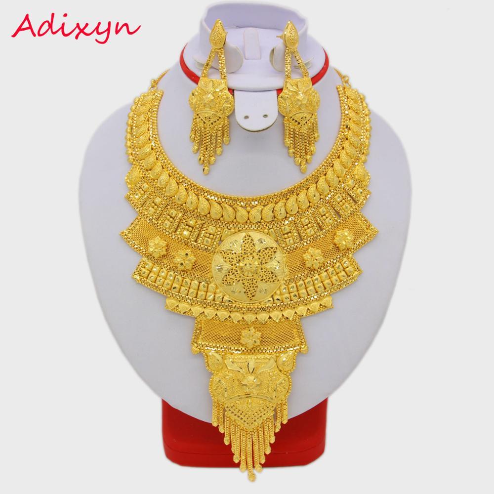 New Africa Fashion Jewelry set Big Necklace/Earrings Gold Color & Copper Ethiopian/Nigeria/Dubai Party/Birthday Gifts New Africa Fashion Jewelry set Big Necklace/Earrings Gold Color & Copper Ethiopian/Nigeria/Dubai Party/Birthday Gifts