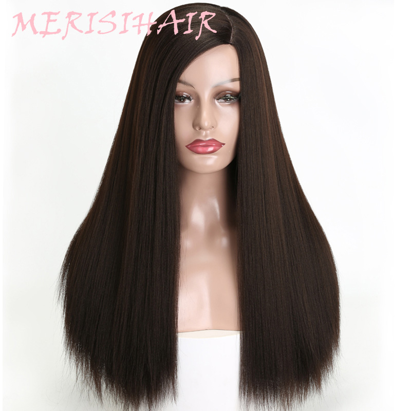 MERISI HAIR 20 Inch Long Straight Synthetic Wigs For Women Black Color Full False Wig Daily Heat Resistant Fiber Hair