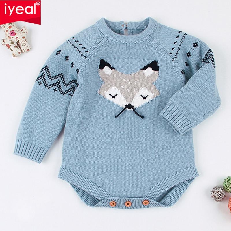 IYEAL bébé tricotage combinaisons mignon renard salopette nouveau-né bébé filles garçons vêtements Infantil bébé fille garçon à manches longues combinaison