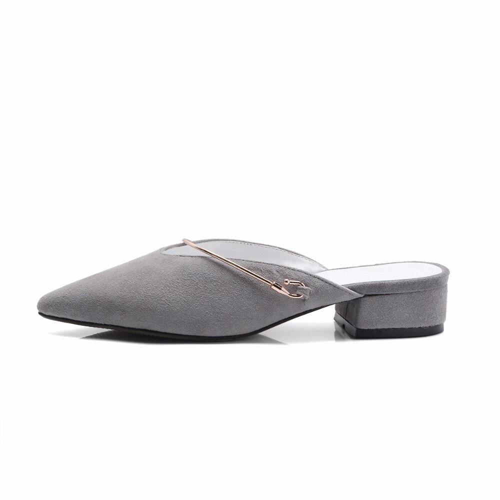 D'été Asumer En Femme gris Véritable Chaussures Nouveautés Femmes jacinth Noir Daim Sandales Bout Cuir Pointu 2018 Mode rI0wqWFxE0