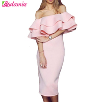 Good Quality 2017 Elegant Off Shoulder Ruffle Party Dress Midi Dress Women Pink Black Slim Bodycon
