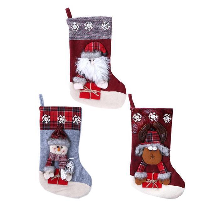 large christmas stocking sock gift bag kids xmas candy bag christmas tree santa claus printed gift - Large Christmas Stocking