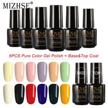 MIZHSE 8 stks/partij DIY Nail Gel Polish Franse Stijl UV Gel Nagellak Set Losweken Grey Nagellak Naakt kleur Gel Sets & Kits(China)