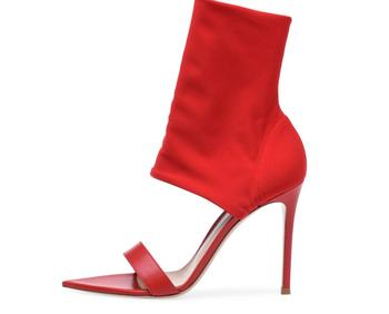 Hot Sexy Fashion Red/Black Flock Peep Toe Shoes Thin Heels Mid-Calf Women's Sandals Big Size Women's Booots