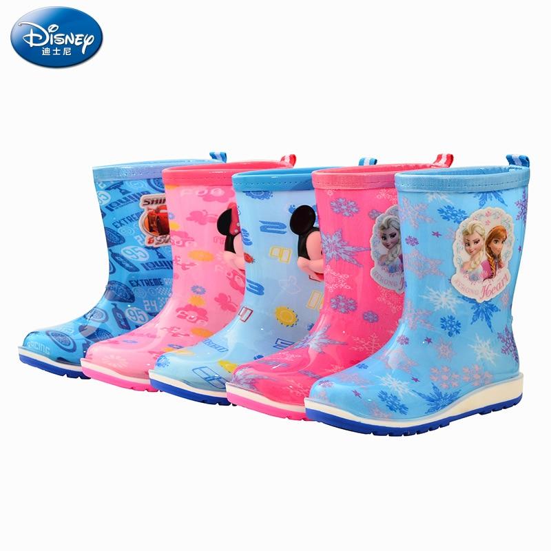 2018 new Disney children's tube non-slip rain boots Frozen Elsa and Anna car boys and girls reflective water shoes EU size 26-37 disney frozen my size elsa