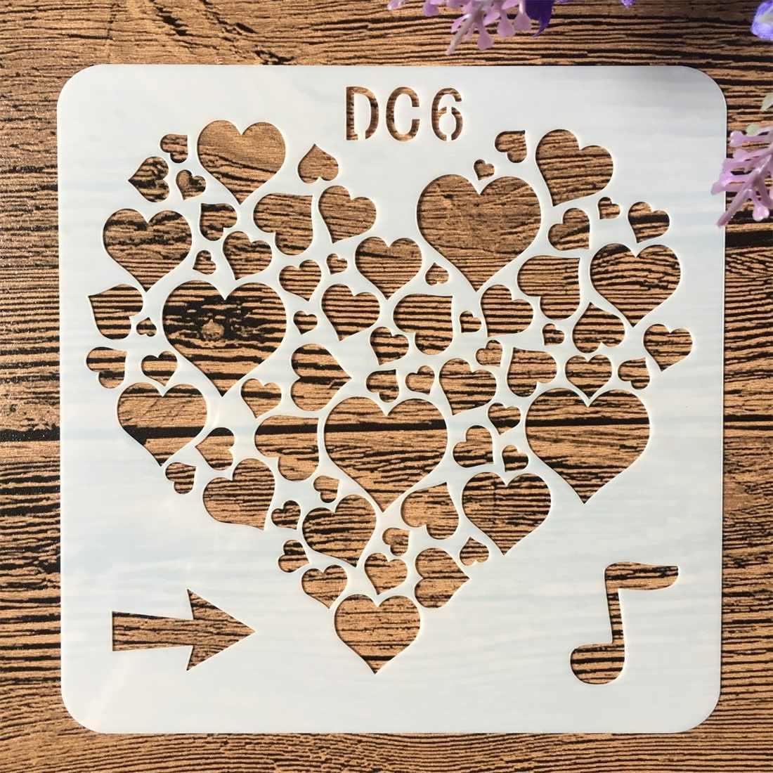 13 cm Note de musique amour coeur bricolage artisanat stratification pochoirs peinture murale Scrapbook timbre gaufrage Album décoratif carte modèle
