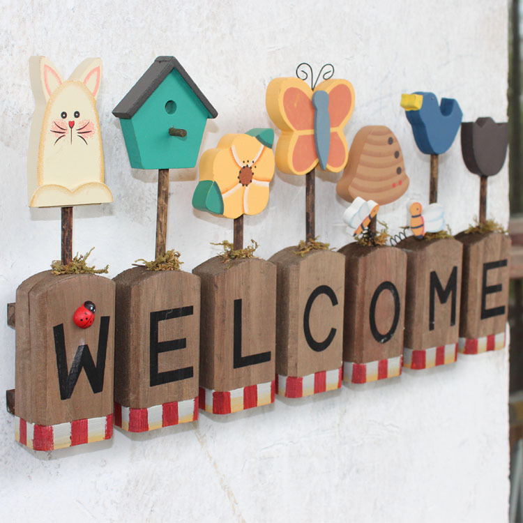 American Village Welcome Sign Home Decoration Opened Listed On Wall Gift Ideas In Plaques Signs From Garden Aliexpress
