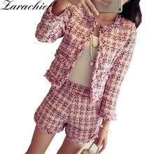 Осенне-зимний твидовый Женский комплект 2 шт., приталенный клетчатый короткий комплект, модная куртка с бахромой+ шорты с кисточками