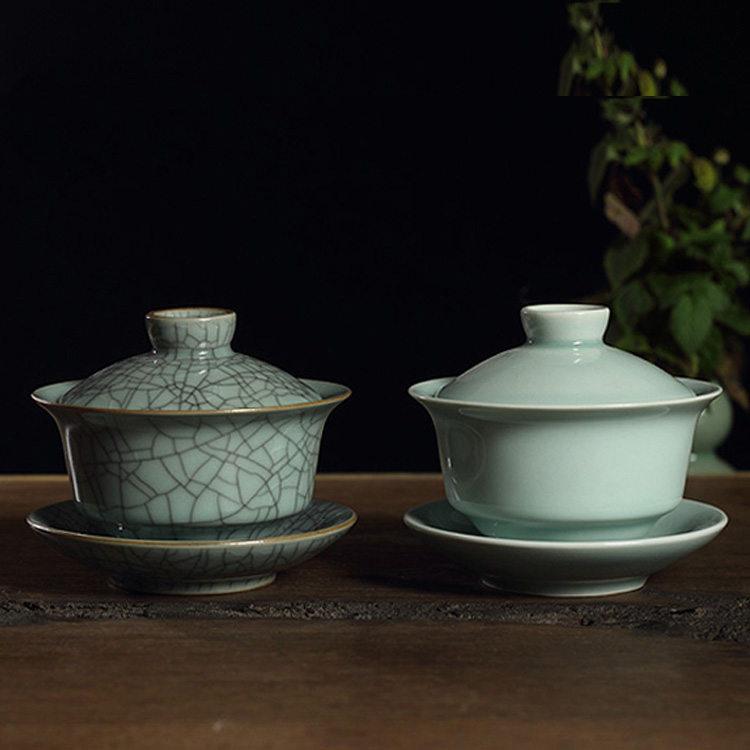 Longquan Celadon Gaiwan Tea Cup Porcelain Tea Set Crack Glaze Teapot Porcelain Bowl Crack Kung Fu