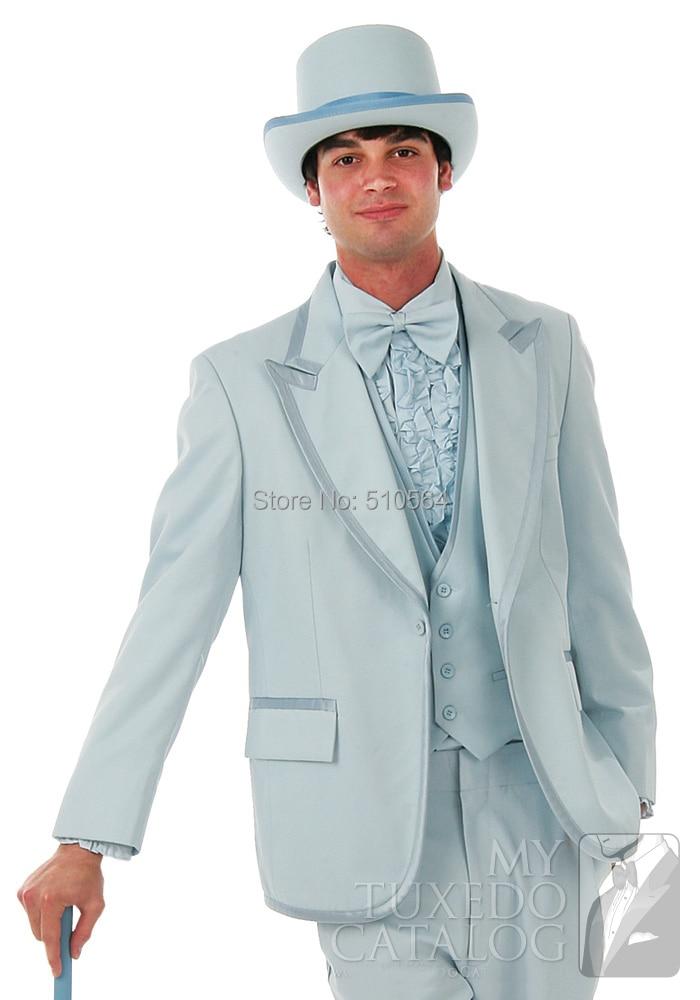 Free shipping Custom made light blue tuxedos wide peak lapel clown ...