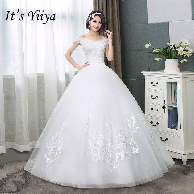 It's YiiYa Sexy Boat Neck Wedding Dresses Simple Off White Cheap Sleeveless Wedding Gown HS284