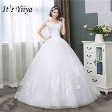 Купить с кэшбэком It's YiiYa Sexy Boat Neck Wedding Dresses Simple Off White Cheap Sleeveless Wedding Gown HS284