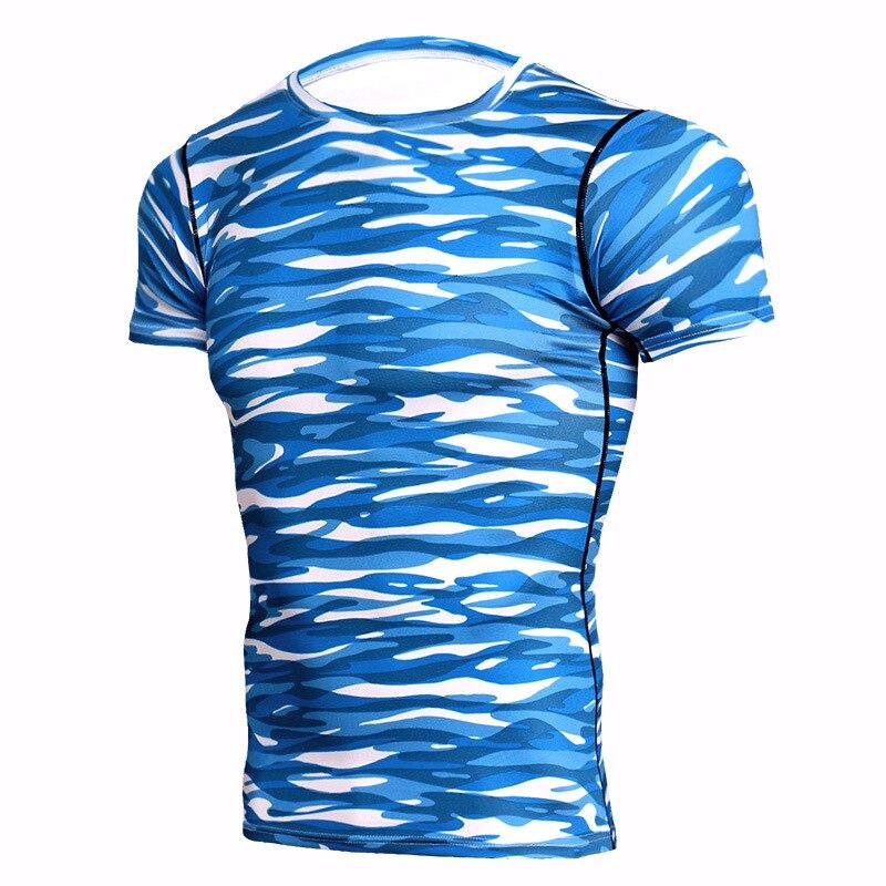 Degli uomini freddi di sport camouflage asciugatura rapida vestiti di basket in esecuzione a maniche corte t-shirt
