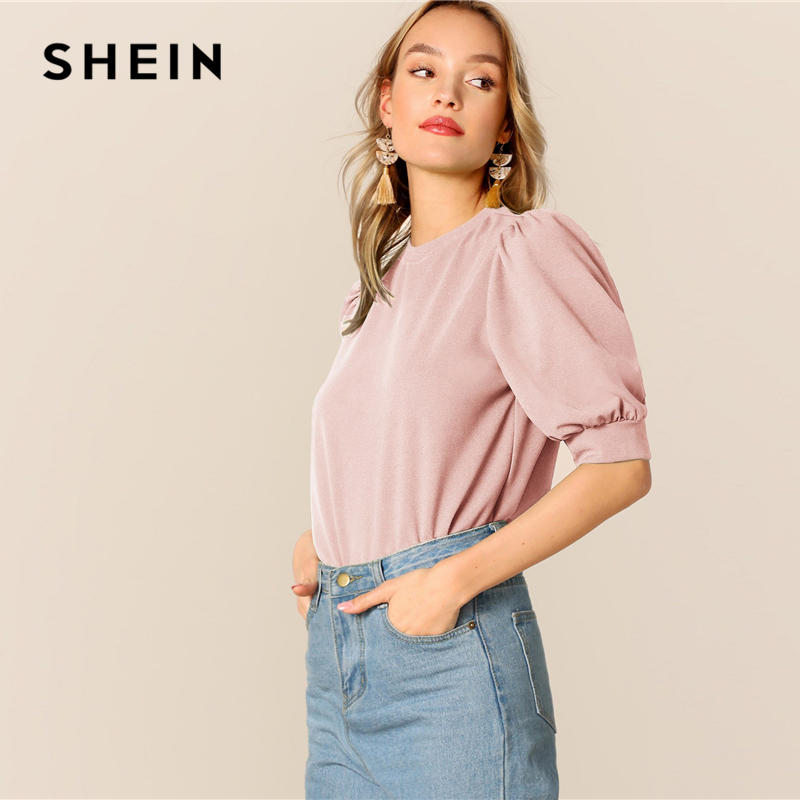7f68af4b8d3b 🛒 [HOT SALE] | ❤ SHEIN Ladies Casual Green Puff Sleeve Keyhole Back Solid  Top And Blouse Women 2019 Summer Workwear Half Sleeve Elegant Blouses ...