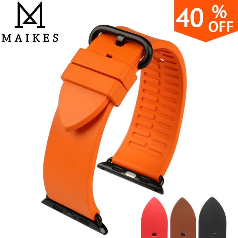 MAIKES New Good Quality Fluororubber Watchbands For Sports Apple Watch Bands 42mm 38mm Series 1 2