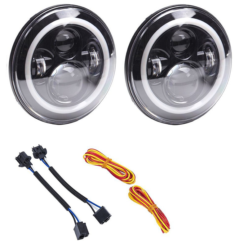 7inch Round LED Headlight Halo Ring For Jeep Motorcycle Harley Daymaker Headlights Angel eye DRL led Projection Headlamp black chrome 7 hid led headlight with halo drl projector daymaker driving headlamp angel eyes for harley davids motorcycle